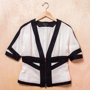 Narciso Rodriguez B&W Linen Zipper Blouse